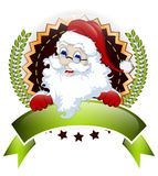 有空白的标志的圣诞老人 免版税库存图片