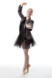 有空白的标志的芭蕾舞女演员 免版税库存照片