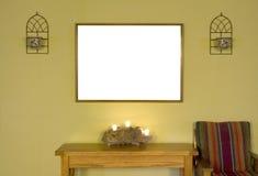 有空白的框架的绿色墙壁 库存图片