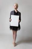 有空白的横幅的芭蕾舞女演员 免版税库存图片