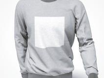 有空白的正方形的灰色运动衫 免版税库存图片