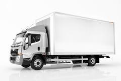有空白的白色拖车的商业货物送货卡车 普通, brandless设计 免版税库存图片