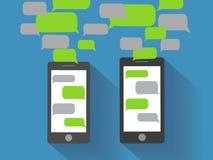 有空白的讲话泡影的智能手机 免版税图库摄影