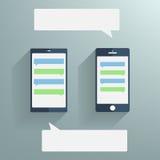 有空白的讲话的智能手机在屏幕上起泡 库存图片