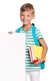 有空白空白的小男孩 免版税库存图片