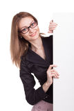 有空白董事会的新微笑的妇女 免版税库存图片