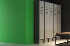 有空的墙壁的当代绿色更衣室 库存例证