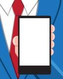 有空的屏幕巧妙的电话的商人 免版税图库摄影