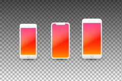 有空的屏幕的现代智能手机 优质现实传染媒介模板 库存照片