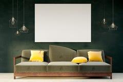 有空的广告牌的Minimalistic客厅 免版税库存图片