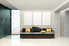 有空的横幅的当代客厅 免版税图库摄影