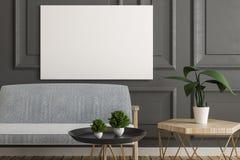 有空的横幅的灰色客厅 向量例证