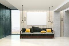 有空的横幅的现代客厅 库存图片