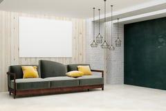 有空的横幅的Minimalistic客厅 库存图片