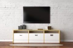 有空的电视屏幕的客厅 库存例证