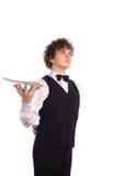 有空的盘子的侍者 免版税库存图片
