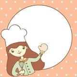 有空的空间的逗人喜爱的女孩厨师您的文本的 免版税图库摄影