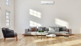 有空调illust的现代明亮的内部客厅 库存照片