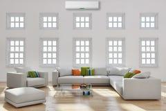 有空调illust的现代明亮的内部客厅 免版税图库摄影
