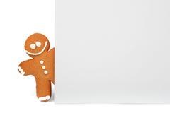 有空间的姜饼人文本的 圣诞节新年度 库存照片
