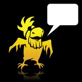 有空间的恼怒的动画片黄色鹦鹉海盗为 库存照片