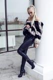 有穿豪华皮大衣的长的直发的性感的美丽的妇女 免版税库存图片