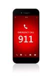 有突发事件数量的911手机在白色 库存照片