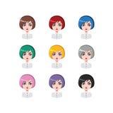 有突然移动的偶然妇女削减了- 9种不同头发颜色 免版税库存图片