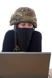 有计算机的黑客 库存照片