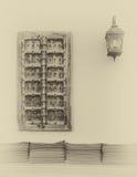 有窗口和灯的墙壁 库存图片