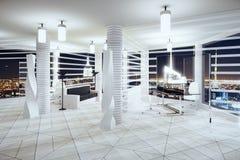 有窗口的现代未来主义样式办公室在地板和夜cit 免版税库存图片