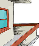 有窗口的露台 免版税图库摄影