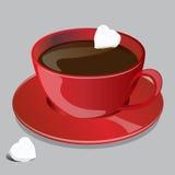有立方体心脏糖形状的咖啡红色杯 免版税库存照片