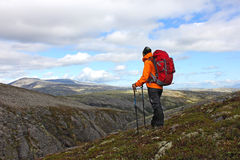 有站立在山和寻找顶部的背包的女孩 库存图片