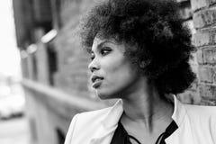 有站立在都市backgrou的非洲的发型的年轻黑人妇女 免版税图库摄影