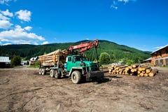 有站立在锯木厂的树日志的卡车  免版税库存照片