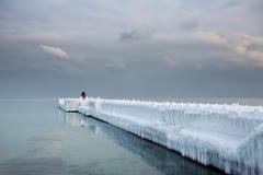 有站立对此的夫妇的精密结冰的码头 免版税图库摄影