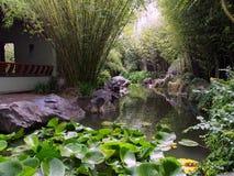 有竹风雨棚包围的池塘的不可思议的偏僻的庭院 免版税库存照片