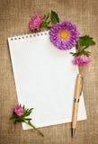 有笔和翠菊的笔记本 免版税库存照片