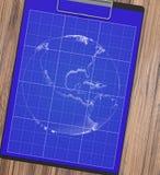 有笔图纸的男性手 行星 免版税库存图片