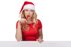 有笔的, xmas概念isolated02圣诞节女孩 库存图片
