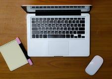 有笔记本、办公用品和木书桌的工作场所 免版税库存图片