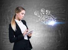 有笔记本和脑子电灯泡的严肃的白肤金发的妇女 免版税库存图片