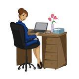 有笔记本的企业夫人 免版税库存图片