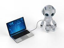 有笔记本的机器人 向量例证
