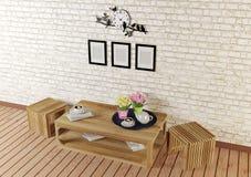 有简单的被设计的家具的最小的样式室在顶视图 免版税库存照片