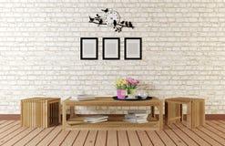有简单的被设计的家具的最小的样式室 免版税库存图片