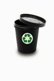黑罐与回收标志 库存照片