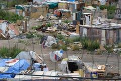 有简陋小木屋的贫民窟区域在巴塞罗那 免版税库存图片