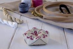 有箍和螺纹的刺绣工具 免版税库存照片